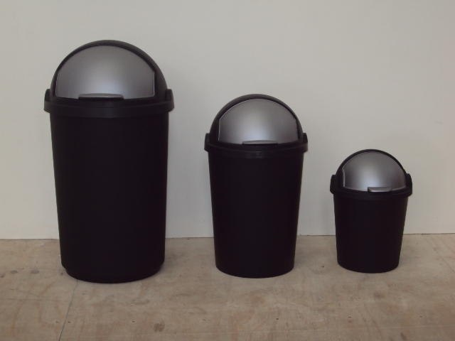Available in the following (L): SIZE   (L)DESCRIPTION85 LBIN WITH STEEL HANDLES120 LREFUSE BIN WITH HANDLES70 LREFUSE BIN WITH HANDLES50 LBIN WITH FLIP-TOP LID25 LBIN WITH FLIP-TOP LID12 LBIN WITH FLIP-TOP LID